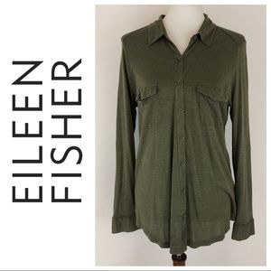 Eileen Fisher Olive Silk Blend Button Down Top